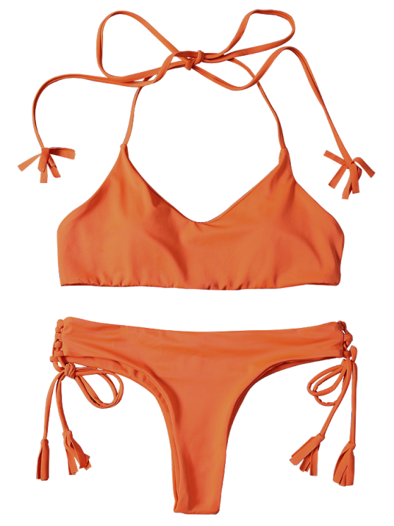 Tassels Lace-Up Bikini Set - ORANGEPINK S Mobile