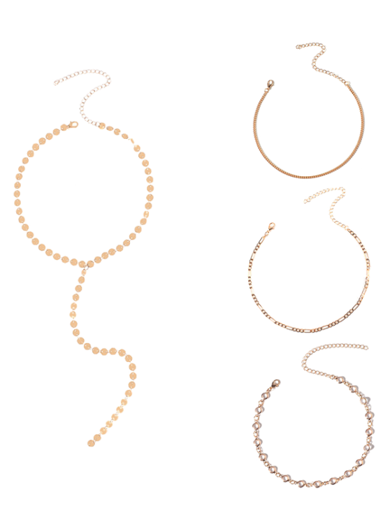 Circle Chain Disc Necklace Set - GOLDEN  Mobile