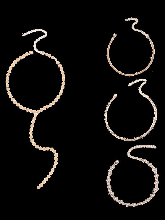 Circle Chain Disc Necklace Set - GOLDEN  Mobile