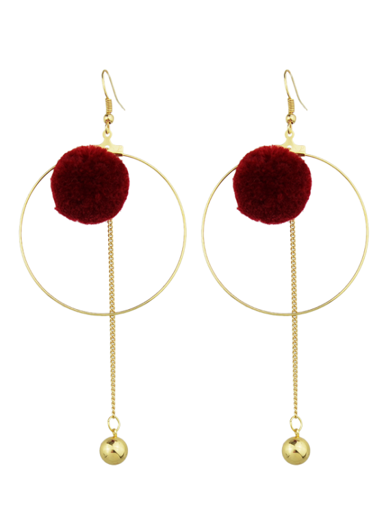 unique Circle Bead Ball Drop Earrings - RED