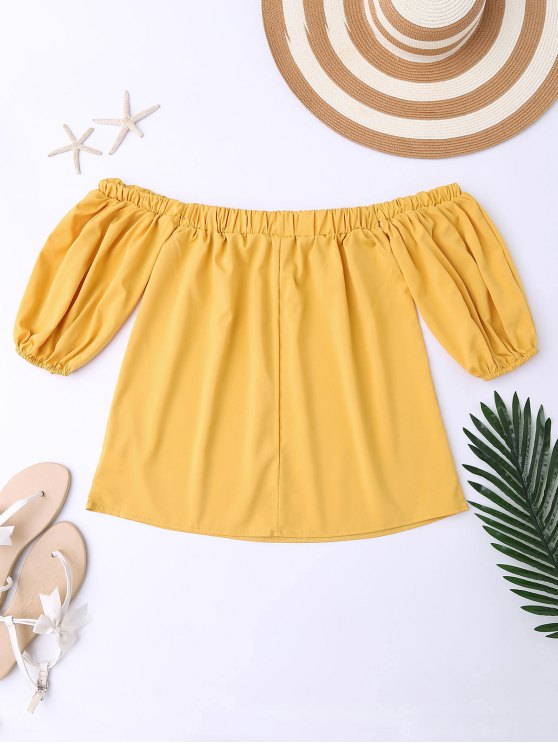 Balloon Sleeve Off The Shoulder Top - YELLOW M Mobile