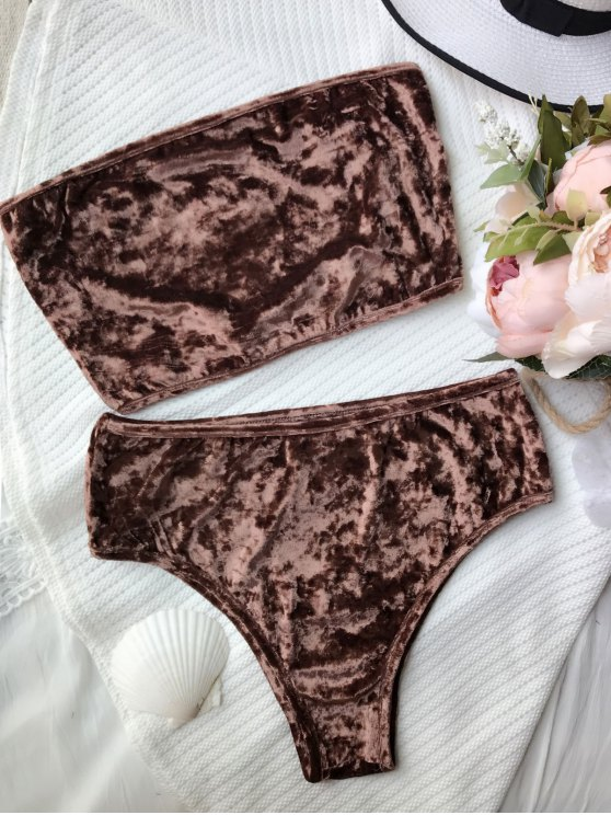High Leg Velvet Bandeau Bikini Set - COFFEE S Mobile