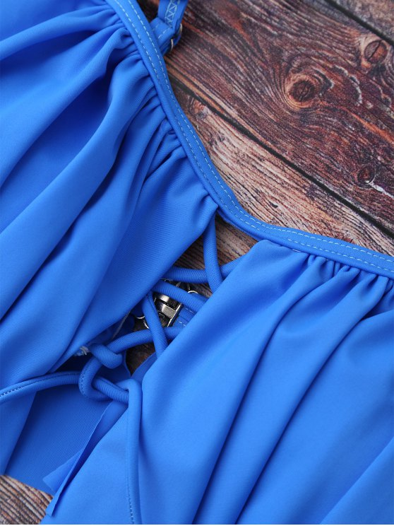 Flounce Off The Shoulder Bikini Set - BLUE M Mobile