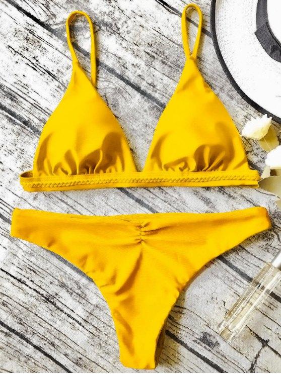 best Cami Thong Bikini Set - YELLOW M