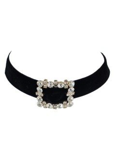 Faux Leather Velvet Rhinestone Choker - Black