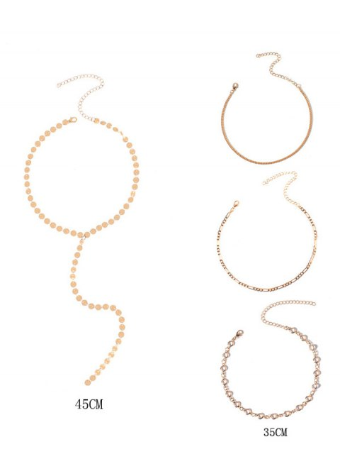 outfit Circle Chain Disc Necklace Set - GOLDEN  Mobile