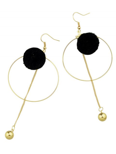 fancy Circle Bead Ball Drop Earrings - BLACK  Mobile