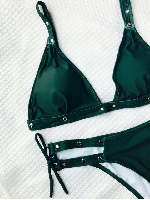 fancy Studded Loop Tie Side Bikini Set - GREEN S Mobile