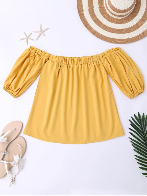 shop Balloon Sleeve Off The Shoulder Top - YELLOW M Mobile