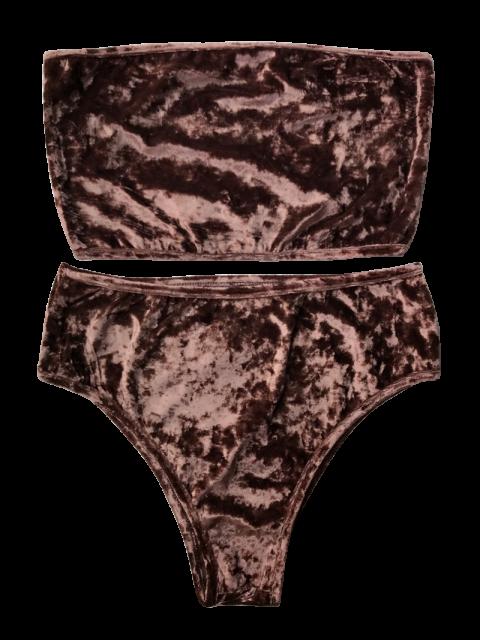 women's High Leg Velvet Bandeau Bikini Set - COFFEE S Mobile