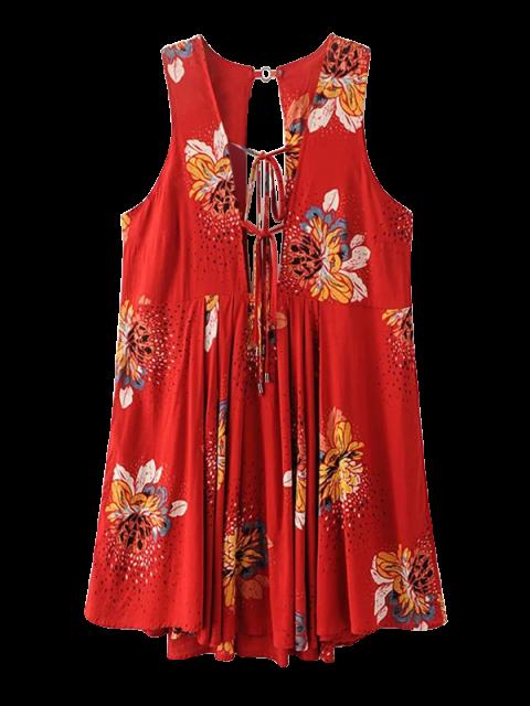 new Floral Print Mini Plunge Sundress - BURGUNDY M Mobile