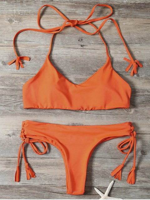 fashion Tassels Lace-Up Bikini Set - ORANGEPINK S Mobile