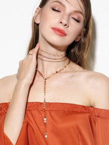 Circle Chain Disc Necklace Set