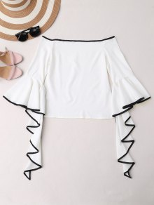 Contrast Piping Off The Shoulder Top - White M