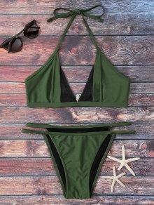 Mesh Panel Thong Bikini Set - Green