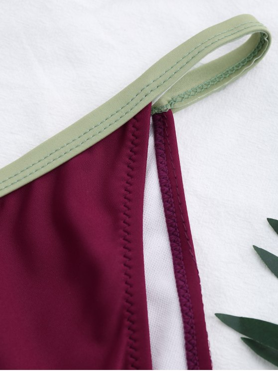 Two Tone Padded Bikini Set - BURGUNDY L Mobile