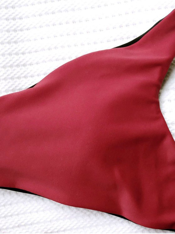 Keyhole Padded Halter Bathing Suit - RED M Mobile