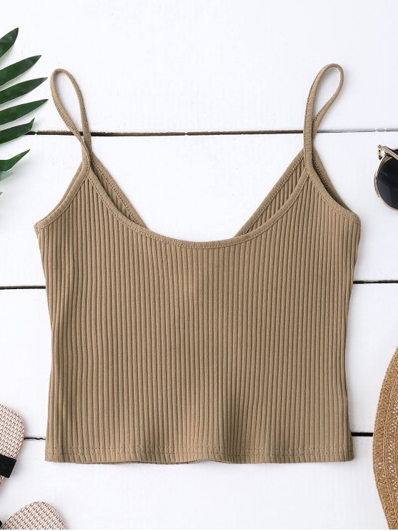 Ribbed Surplice Cropped Cami Tank Top - KHAKI ONE SIZE Mobile