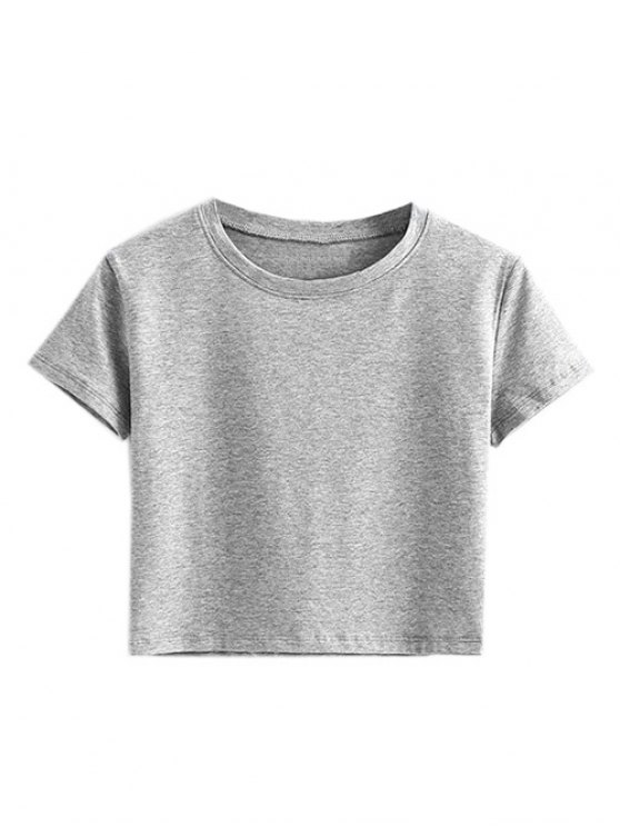 affordable Short Sleeve Mock Neck Cropped Tee - GRAY S