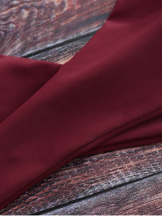 Tiny Floral Halter Wrap Bikini Set - RED S Mobile