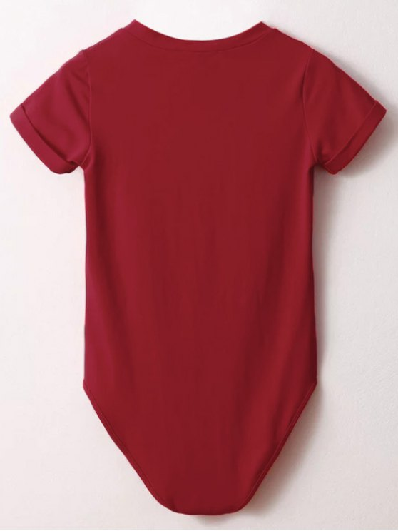 Skinny Plunging Neck Bodysuit - RED M Mobile