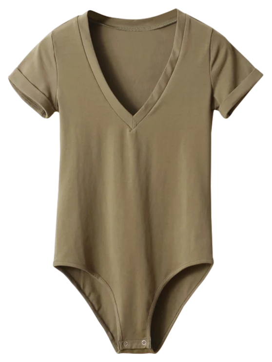 Skinny Plunging Neck Bodysuit - ARMY GREEN S Mobile