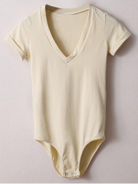 Maigre Plongeant Neck Bodysuit - Blanc Cassé S