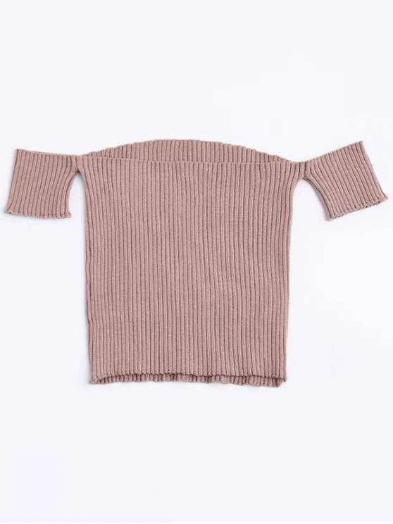 Fitted Off Shoulder Ribbed Knitwear - NUDE PINK S Mobile