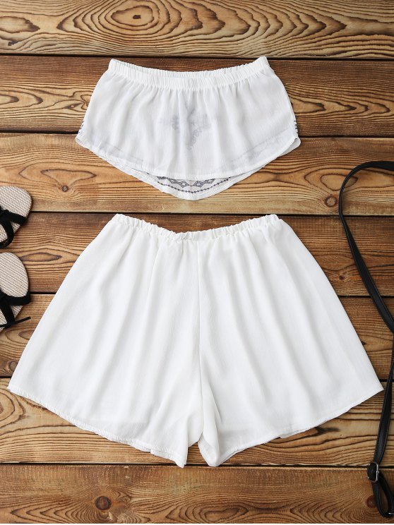 Print Chiffon Tube Top and Shorts - WHITE L Mobile