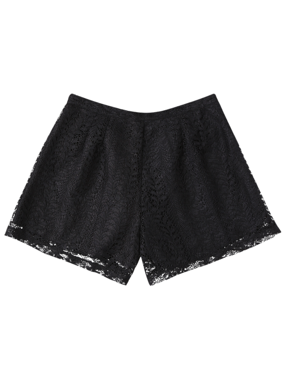 Layered Lace Shorts - BLACK M Mobile