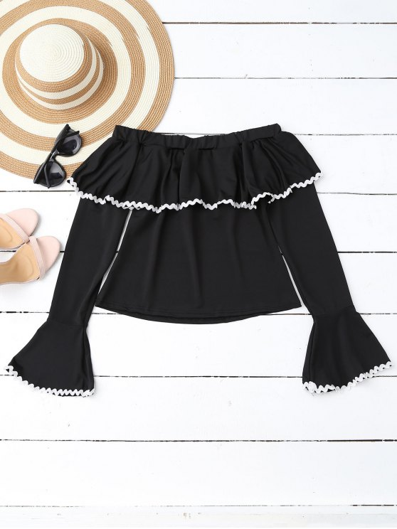unique Scalloped Off Shoulder Flare Sleeve Ruffle Top - BLACK XL