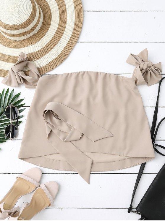 Off Shoulder Choker Tie Sleeve Blouse - NUDE S Mobile