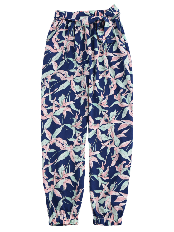 Floral Print Tapered Pants With Tie Belt - COLORMIX M Mobile
