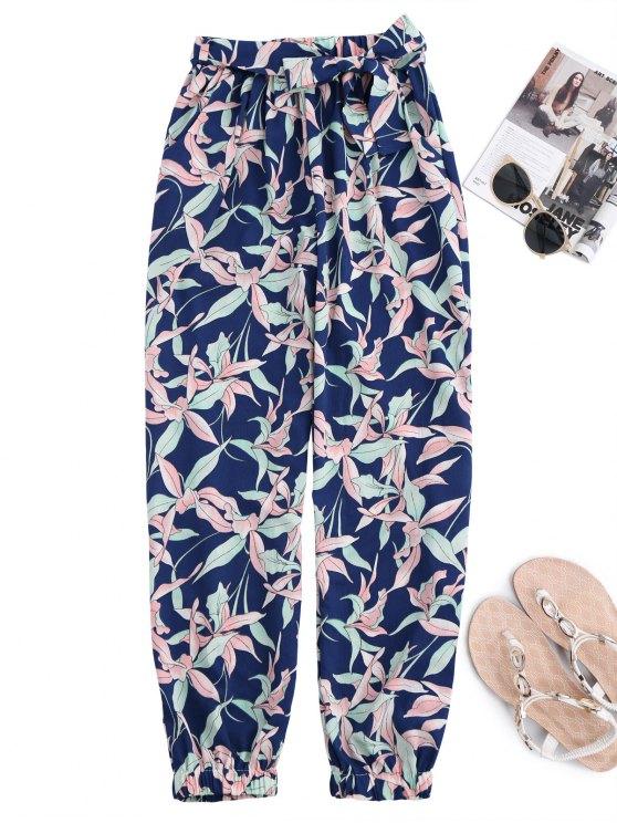 Impresión floral cónico pantalones con lazo de cinturón - Colormix L