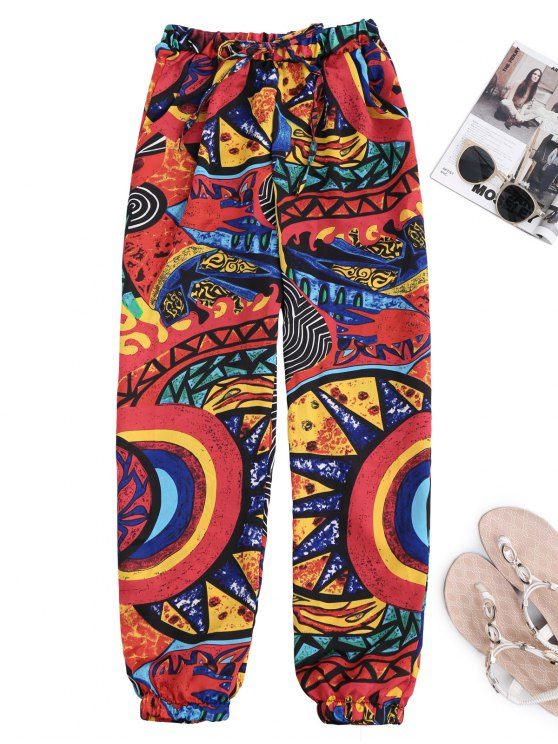 affordable Graffiti Print Drawstring Tapered Beach Pants - COLORMIX L