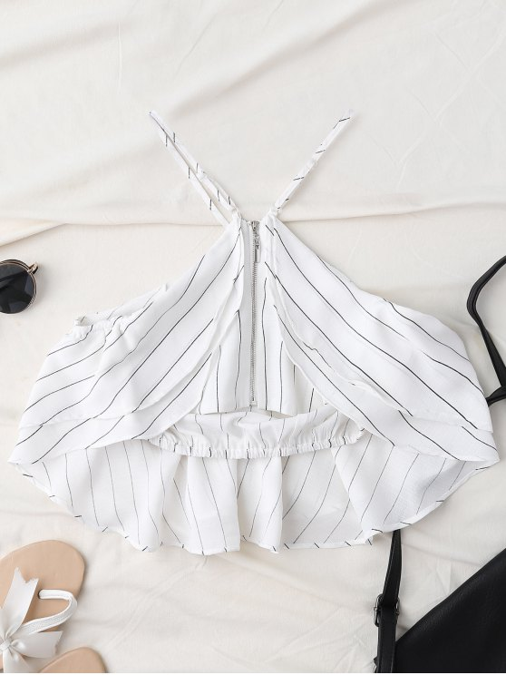 Halter Striped Crop Chiffon Top - WHITE S Mobile