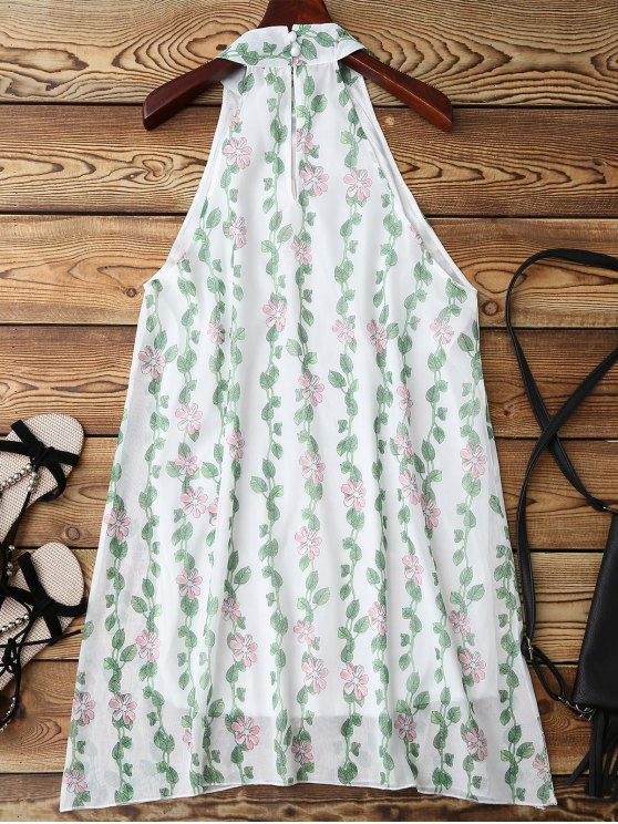 Mandarin Collar Plant Print Sleeveless Dress - GREEN S Mobile