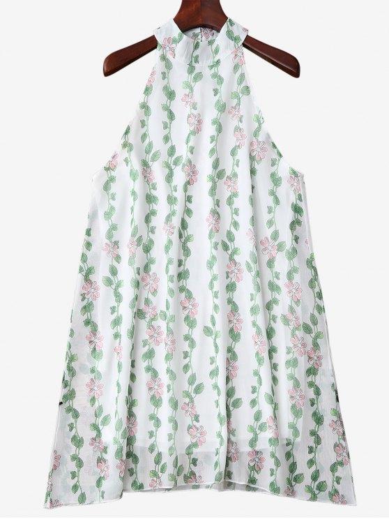Mandarin Collar usine Robe imprimée manches - Vert M