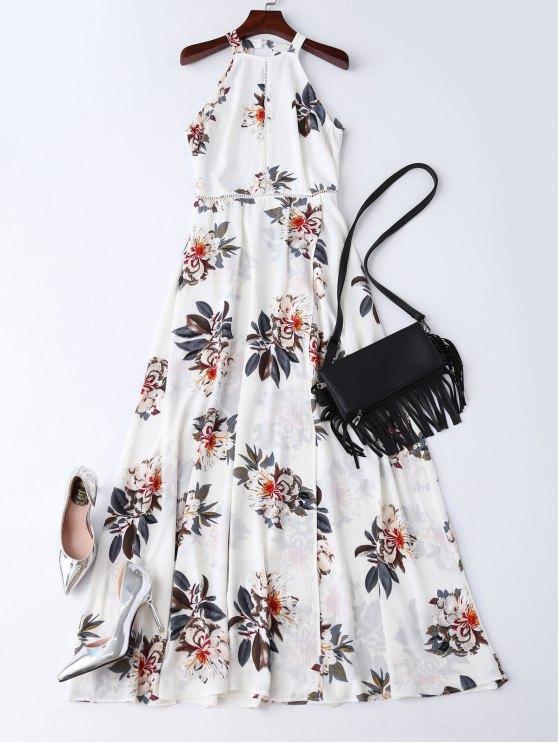 Maxi Vestido de Flores de Bohemia con Escote Pronunciado en Espalda - Blanco L