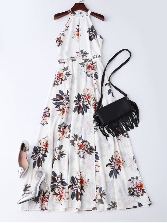 outfit Bohemian Floral Open Back Maxi Dress - WHITE M