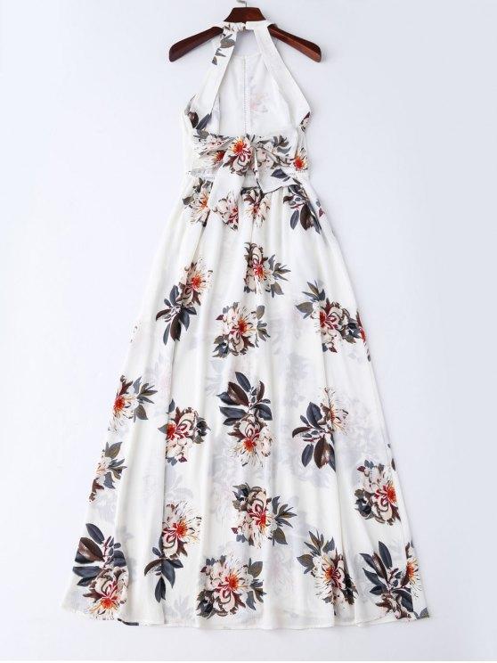 Bohemian Floral Open Back Maxi Dress - WHITE M Mobile