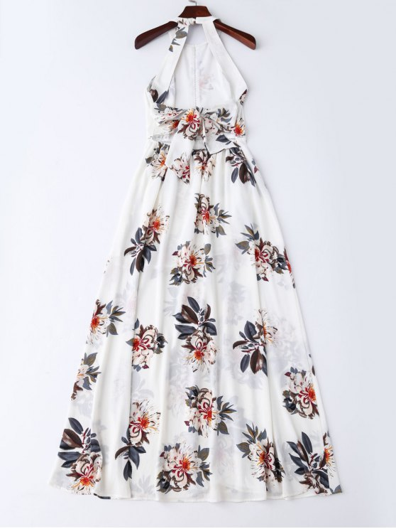 Bohemian Floral Open Back Maxi Dress - WHITE S Mobile