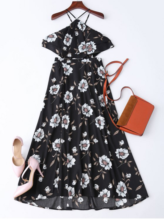 Boho hendidura vestido floral maxi de la playa - Negro L