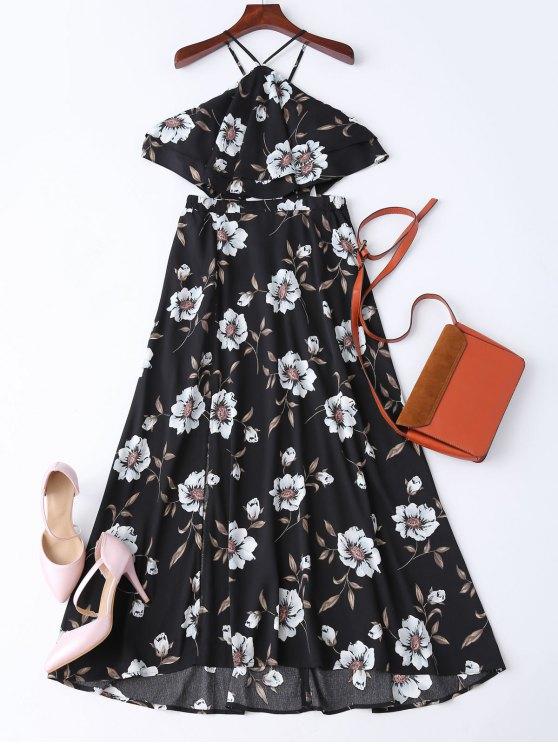 Boho Slit Floral Maxi Beach Dress - Black