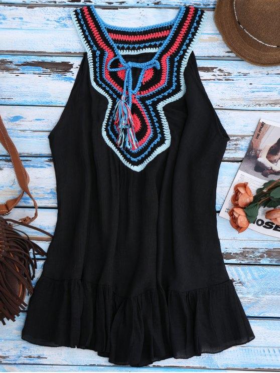 Crochet Bib Cover-Up Tank Dress - Noir TAILLE MOYENNE