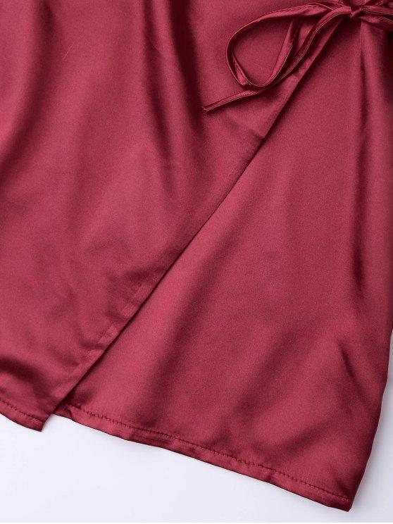 Cami Wrap Slip Dress - WINE RED XL Mobile