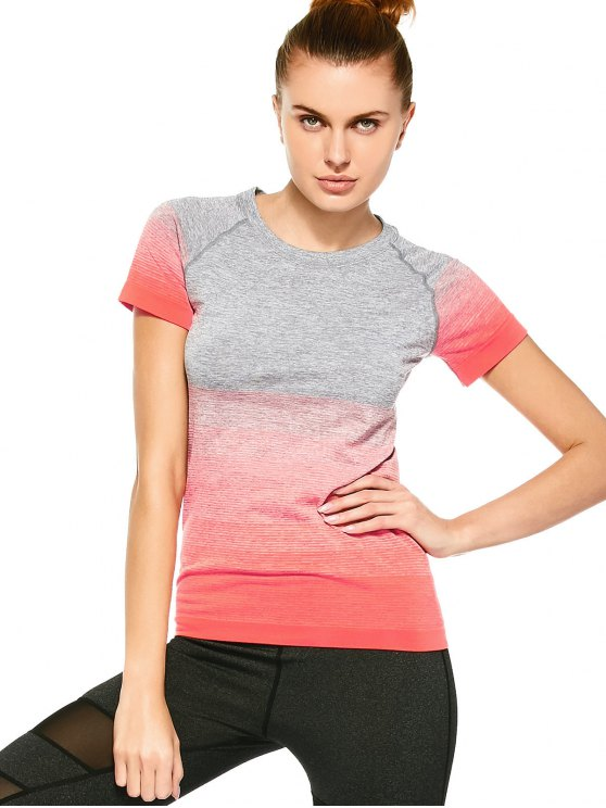 trendy Striped Ombre Sports T-Shirt - JACINTH L