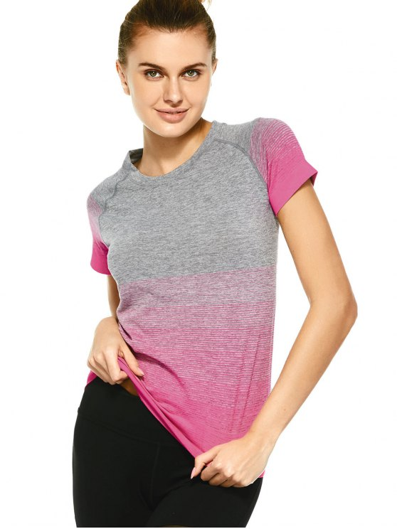chic Striped Ombre Sports T-Shirt - PLUM M