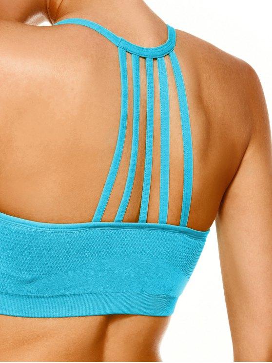Push Up Strappy Back Sports Bra - LAKE BLUE L Mobile