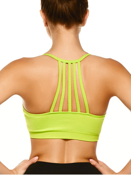 Push Up Strappy Back Sports Bra - FLUORESCENT YELLOW L Mobile